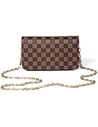 Checkered Cross body bag - RFID Blocking with Credit Card slots clutch -PU Vegan Leather