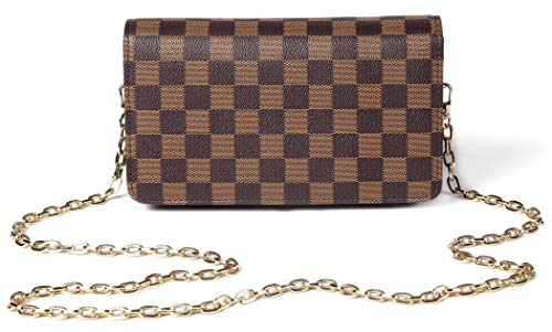 Daisy Rose Checkered Cross body bag - RFID Blocking with Credit Card slots clutch -PU Vegan Leather (BROWN) ()