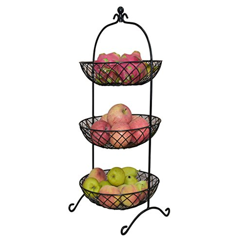 Ping Bu Qing Yun Fruit Disc - Iron Art Three Layers Round Fruit Basket, Fruit Holder Three Tier, Kitchen Multi-Layer Storage Rack, Metal Hanging Storage Bin for Kitchen Size: 28x65cm Fruit Dish