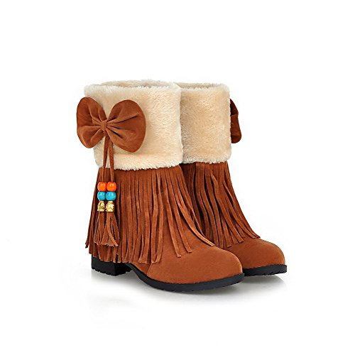 Women's Low Boots Top Pull Toe Low On Closed Frosted Heels AgooLar Brown Round dqP4pzd1