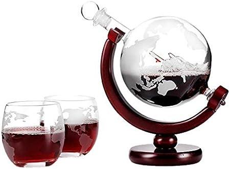 Cabilock Whisky Decanter Globe Set Wood Caoba Base Tray Antiguo Barco Whisky Dispenser for Licor Scotch Bourbon Vodka