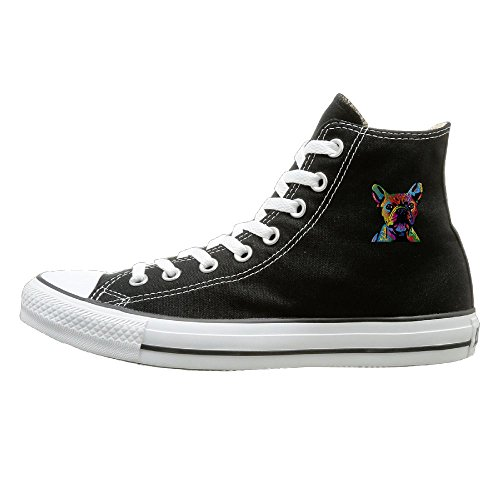 Shenigon French Bulldog Canvas Shoes High Top Casual Black Sneakers Unisex Style 44