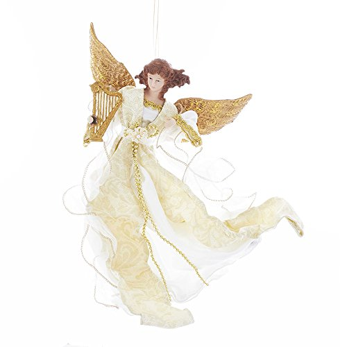 (Kurt Adler Kurt S. Adler 12-Inch Ivory and Gold Flying Angel Ornament)