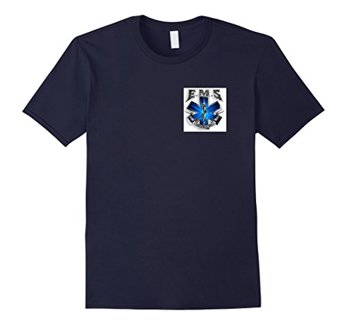 [Mens EMS T-Shirt, Emergency Medical Service Uniform Shirt Large Navy] (Policeman Uniform)