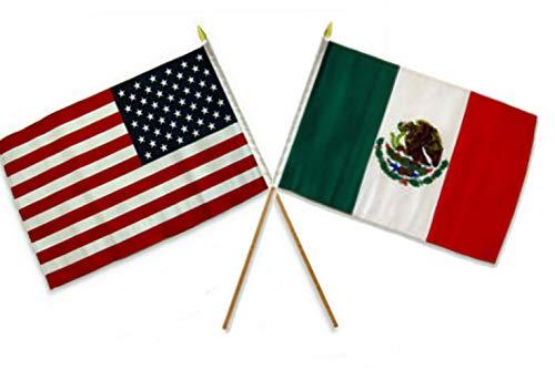 Mikash 12x18 12x18 Wholesale Combo USA American Mexico Mexican Stick Flag | Model FLG - 2214