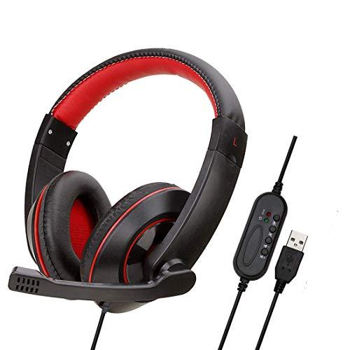 YOUPECK 7.1 Virtual Surround USB Headset - Auriculares estéreo USB para juegos y micrófono para videojuegos de computadora Windows Mac - Juego de micrófono y cable trenzado profesional para jugadores (negro)