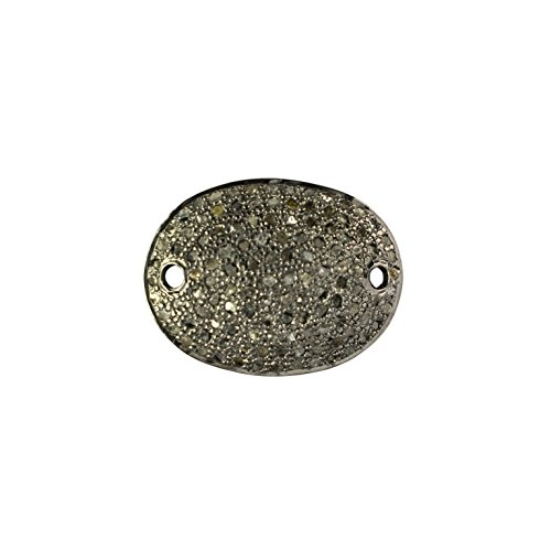 Black Friday Special New Designed Natural Pave Diamond Oval Disc Charm Pendant 925 Sterling Silver Finding - Disk Diamond Pave