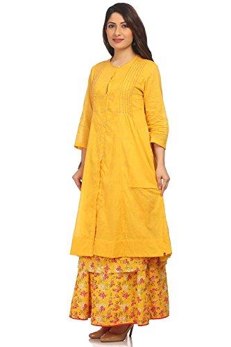 BIBA Women's Yellow Front Open Cotton Kurta Size 34 by Biba (Image #3)