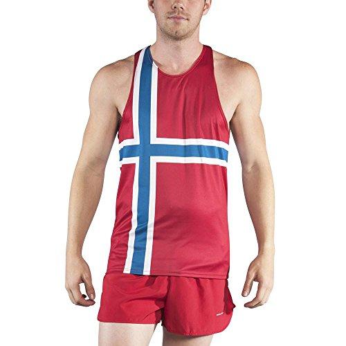 B.O.A Boa Mens Printed Running Singlet (2600P)(Norway, (Mens Printed Racer)