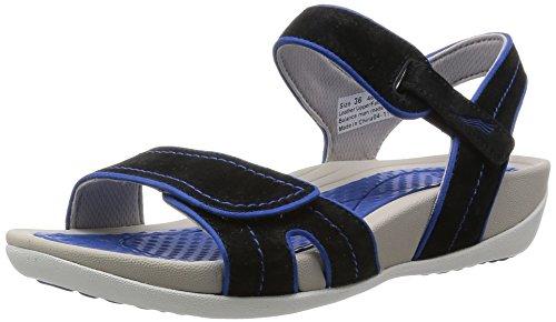 Dansko Women's Kami Black/Cobalt Suede Platform Sandal, 37 EU/6.5-7 M US