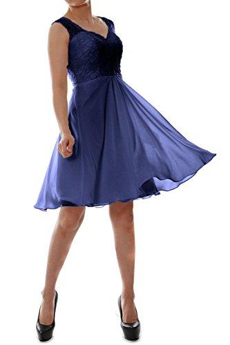 MACloth Women V Neck Lace Chiffon Short Formal Evening Cocktail Party Dress Azul Marino Oscuro