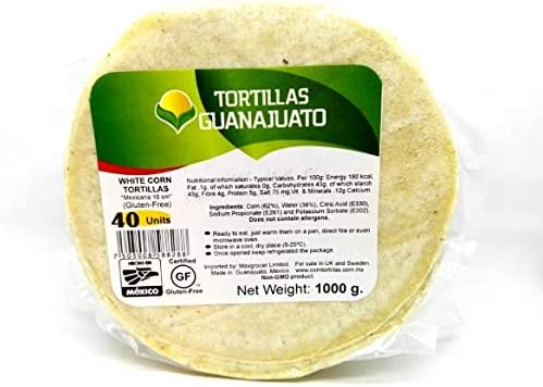 White Corn Tortillas 1kg 40 Units Amazon Co Uk Grocery