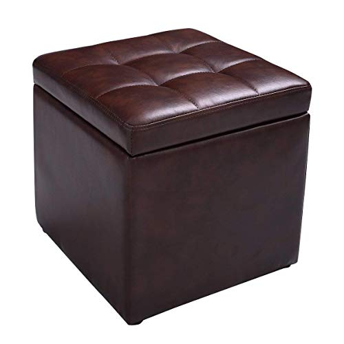"Giantex 16""Cube Ottoman Pouffe Storage Box Lounge Seat Footstools with Hinge Top Home Living Room Bedroom Furniture Footrest Stool Storage Ottoman 16""×16"" ×16""with Bottom Feet, Brown (Footstool Storage Leather)"