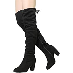 Dream Pairs Women's Highleg Black Suede Over The Knee Thigh High Winter Heel Boots - 7.5 M US