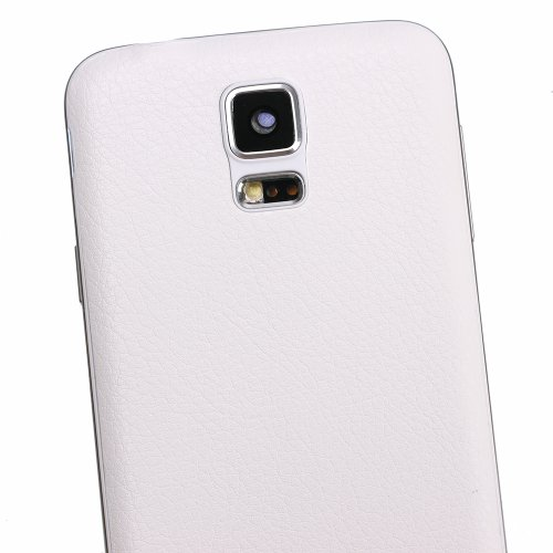 Winnema S5 White Leather Pattern Replacement Battery Cover Back Housing Battery Door Rear Case for Samsung Galaxy S5 SV I9600 G900