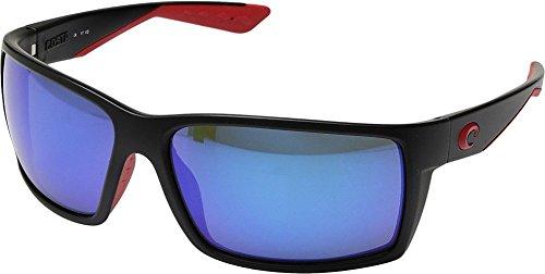 Costa Unisex Reefton Race Black/Blue Mirror 580g One - Are Sunglasses Costa Made Where