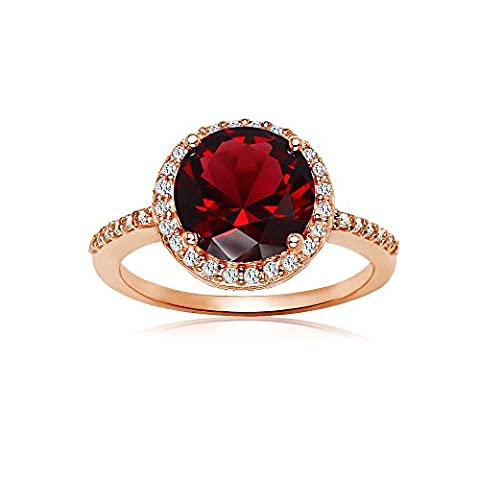 Rose Gold Flashed Silver Simulated Garnet and Cubic Zirconia Round Halo Ring, Size 6 (Ring Garnet Gold)