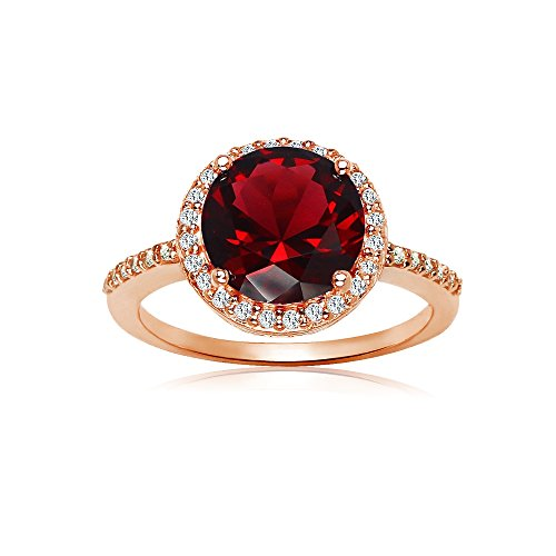 Ice Gems Rose Gold Flashed Silver Simulated Garnet and Cubic Zirconia Round Halo Ring, Size 7
