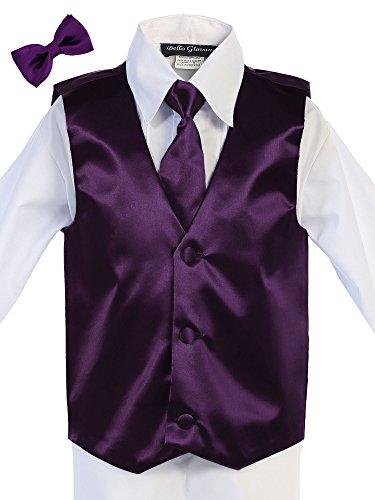 Bello Giovane Boys Satin Hand Made Long Tie & Vest Set (Free Bow Tie) (10, Plum)