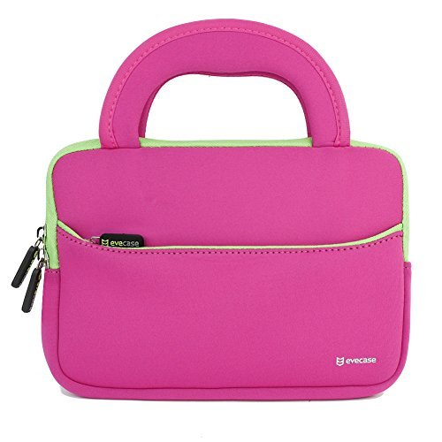 Evecase 7 ~ 8 inch Tablet Ultra-Portable Neoprene Zipper Carrying Sleeve Case Bag with Accessory Pocket - Hot Pink / Green