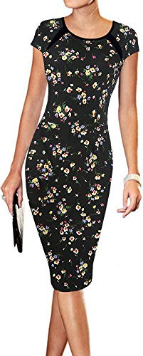 LunaJany Women's Floral Print Print Sexy Wear to Work Office Career Sheath Midi Dress L Black Yellow ()