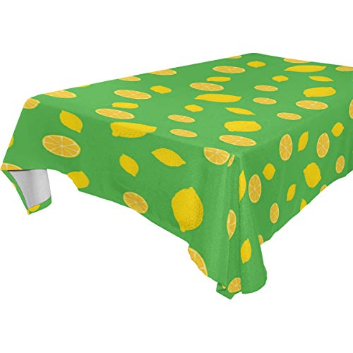 Macadamd Eye-Catching Green Lemon Rectangle Tablecloth Charcoal Rectangular Table Cloth in Washable Polyester
