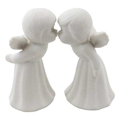Set of 2 - Kissing Angels Figurines, White Porcelain Bisque, 4 1/2 H, L8070 ()