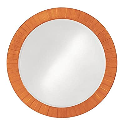 Howard Elliott 6002O Serenity Mirror, Orange - Features stepped bars radiating from the glass creating a striking sunburst effect Finished in a glossy orange lacquer Resin frame - bathroom-mirrors, bathroom-accessories, bathroom - 41IF8mwwOWL. SS400  -