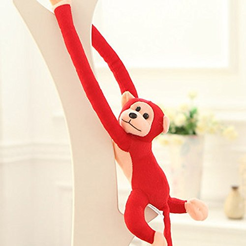LISASTOR 70cm Plush Stuffed Long Arm Monkey With Velcro Paws For Household Decor (Red)