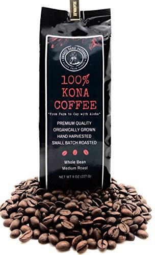 100 Percent Kona Coffee - Whole Bean, Organically Grown, Fresh From Hawaii, Roasted in Small Batches, Medium Roast, 8 ounces -