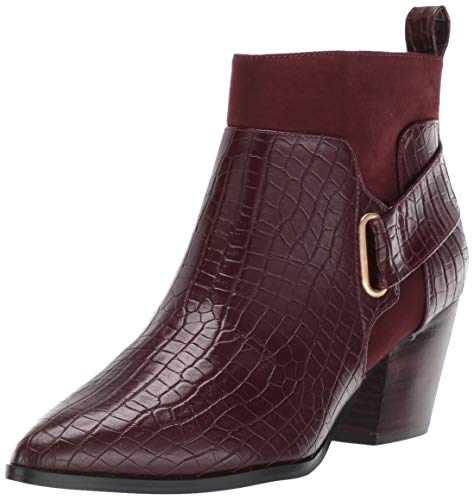Bella Vita Women's Elektra II Western Inspired Bootie Ankle Boot, Burgundy Croco, 8.5 M US