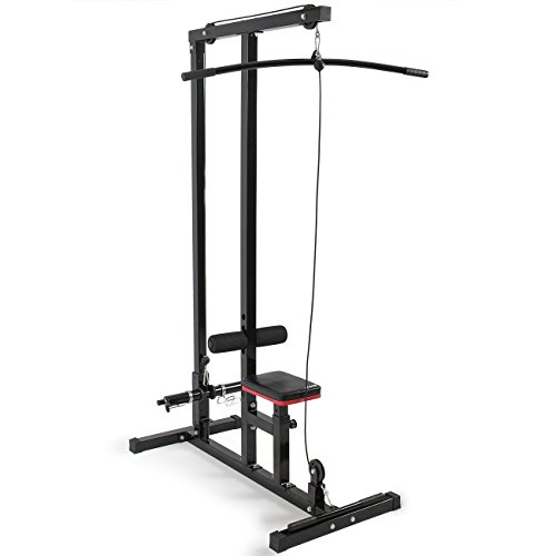 Multi Function Pro Lat Pulldown Machine with Low Row Bar Cable Fitness Equipment + FREE E Book