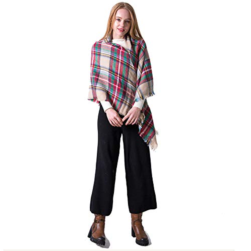 KUFA Soft Warm Tartan Plaid Scarf Shawl Cape Blanket Scarves Fashion Wrap