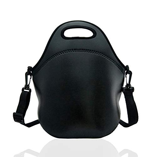 Neoprene Insulated Lunch bag, Lunch tote Boxes Bags for Kids Women Men Kids Children Work Office School Picnic Travel (Black)