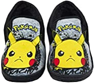 Pokemon Pikachu Slippers Graffiti Face Kid's Grey Marl Loafer House S