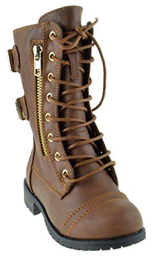 (Mango 71 KA Baby Girls Combat Lace Up Boots Tan 5 Toddler)