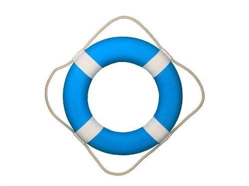 Hampton Nautical  Vibrant Light Blue Lifering with White Bands, 20'' (Renewed) by Hampton Nautical