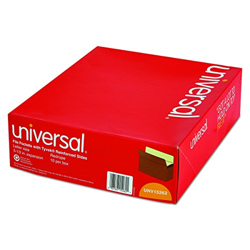 Universal 15262 5 1/4 Inch Expansion File Pockets, Straight Tab, Letter, Redrope/Manila (Box of 10)
