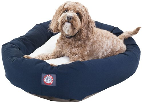32 inch Blue & Sherpa Bagel Dog Bed By Majestic Pet Products
