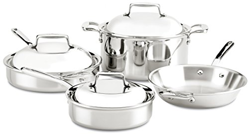 (All-Clad SD70007 D7 18/10 Stainless Steel 7-Ply Bonded Construction Dishwasher Safe Oven Safe Cookware Set, 7-Piece, Silver)