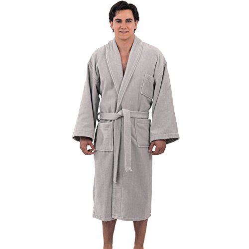 alpine swiss Aiden Mens Cotton Terry Cloth Bathrobe Shawl Collar Velour Spa Robe Gry ML