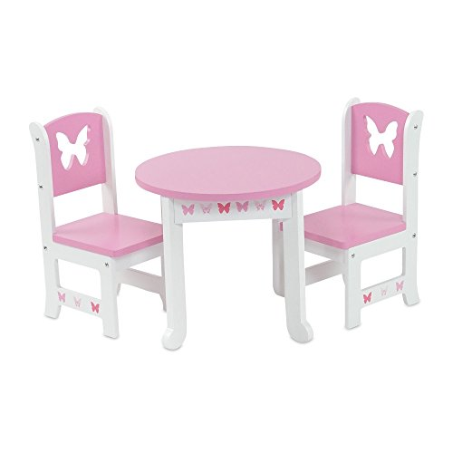 18 Inch Doll Furniture | Lovely Pink and White Table and 2 Chair Dining Set | Fits American Girl Dolls (Butterfly Theme) ()