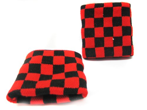 Red Checkered Wristband Sweatband ()