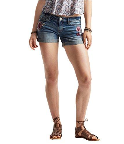 Aeropostale Womens Embroidered Midi Casual Denim Shorts, Blue, 8