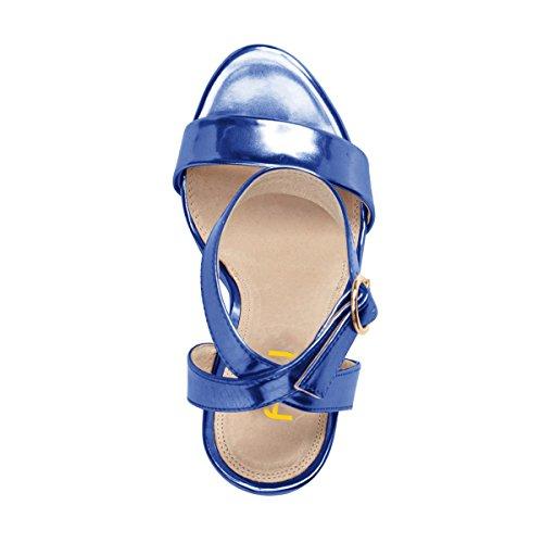 Fsj Donne Sexy Sandali Con Cinturino Alla Caviglia E Punta Aperta Tacco Grosso Per Le Scarpe Estive Taglia 4-15 Us Royal Blue