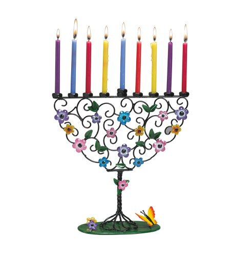 Rite -Lite Judaica Flowering Tree of Life 10-Inch by 10-Inch Hand Craft Metal Menorah Gift Box