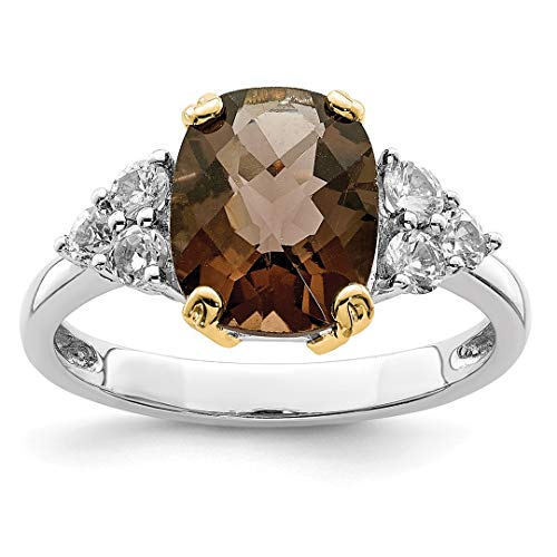925 Sterling Silver 14k Accent Smoky Quartz White Topaz Band Ring Size 6.00 Stone Gemstone Fine Jewelry For Women Gift Set (Smoky Quartz Faceted Oval Ring)