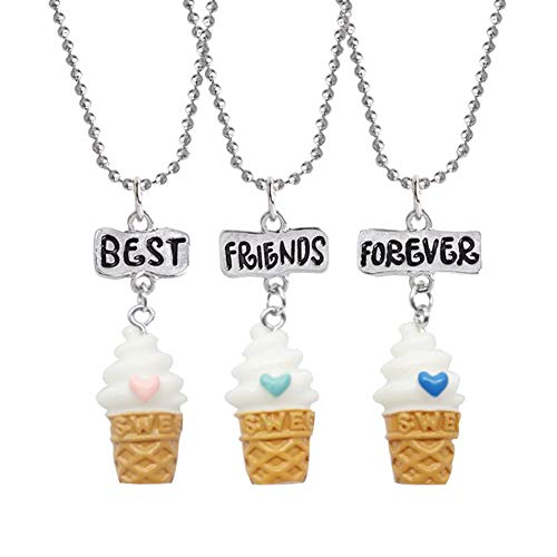 dalismotemp 3Pcs/Set Cute Best Friends Necklace Resin Ice Cream Kids Children Resin Pendant Bead Chain Necklace Jewelry for Women