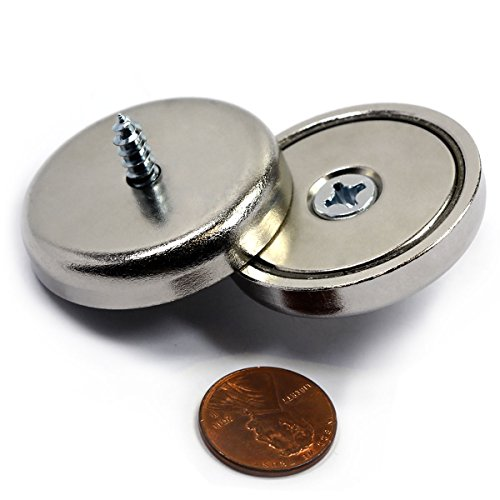 "CMS Magnetics Neodymium Cup Magnets with 112 LBS Pulling Capacity Dia 1.57"" - Two Pieces with Screw"