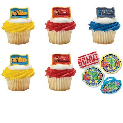 Cars 3 Nex-Gen Racers Cupcake Toppers and Bonus Birthday Ring - 25 -
